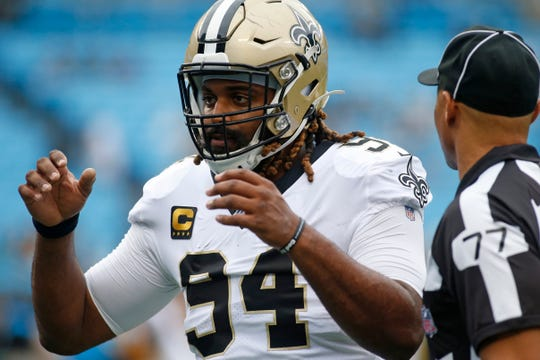 New Orleans Saints defensive end Cameron Jordan (94) is seen prior to an NFL football game against the Carolina Panthers in Charlotte, N.C., Sunday, Dec. 29, 2019. (AP Photo/Brian Blanco)