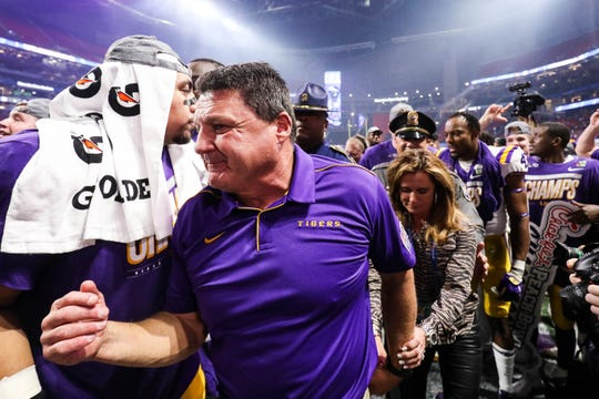 Dec 28, 2019; Atlanta, Georgia, USA; LSU Tigers head coach Ed Orgeron walks off the field after the 2019 Peach Bowl college football playoff semifinal game between the LSU Tigers and the Oklahoma Sooners at Mercedes-Benz Stadium. Mandatory Credit: Jason Getz-USA TODAY Sports