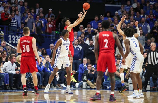Louisville's Jordan Nwora scored on this shot in overtime but the Wildcats beat Louisville at Rupp Arena Saturday in Lexington. Nwora finished with eight points. Dec. 28, 2019