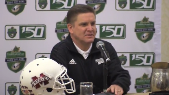 Mississippi State defensive coordinator Bob Shoop talks before the Music City Bowl.