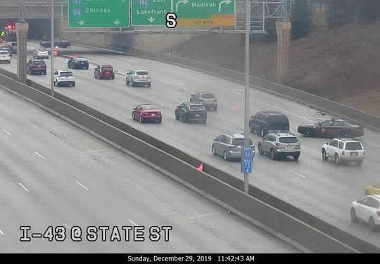 A ramp off southbound I- 43 at the Marquette interchange that connects to westbound I-94 has been closed because of a crash
