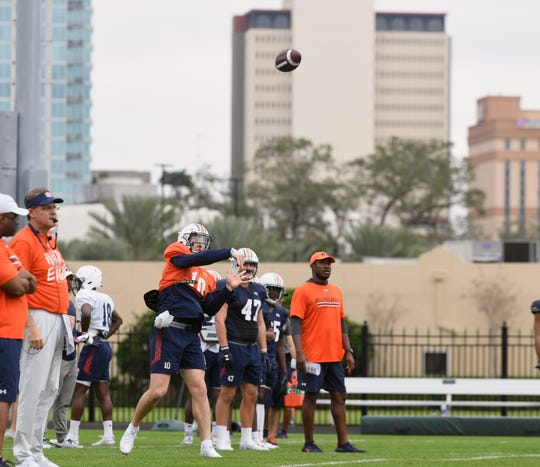 Auburn quarterback Bo Nix (10) throws a pass during Outback Bowl practice on Saturday, Dec. 28, 2019 in Tampa, FL.