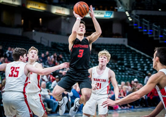 Wapahani's Tre Spence shoots past Frankton's defense during The Really Big Basketball Holiday Show at Banker's Life Fieldhouse Saturday, Dec. 28, 2019.