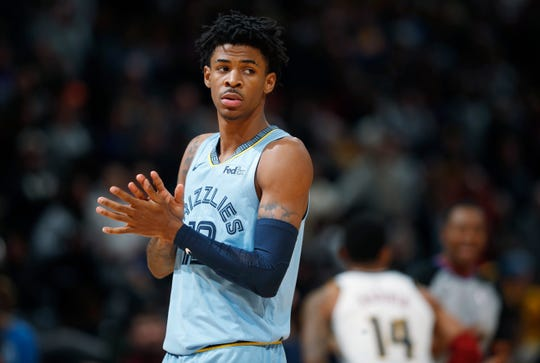 Memphis Grizzlies guard Ja Morant takes the court to face the Denver Nuggets in the first half on Saturday, Dec. 28, 2019, in Denver.