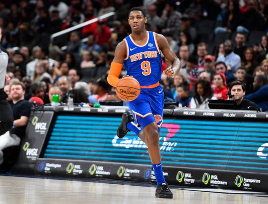 Dec 28, 2019; Washington, District of Columbia, USA; New York Knicks forward RJ Barrett (9) advances the ball against the Washington Wizards during the second quarter at Capital One Arena.