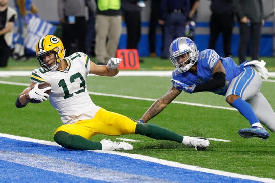 "Green Bay Packers wide receiver Allen Lazard received $307,300 from the NFL's ""performance-based pay"" pool for the 2019 season."