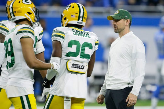 Green Bay Packers head coach Matt LaFleur talks with his players during pregame of an NFL football game, Sunday, Dec. 29, 2019, in Detroit.