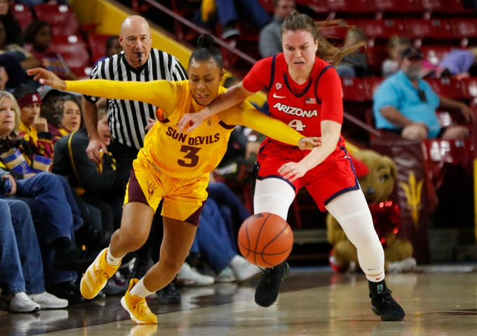 ASU's Sara Bejedi (3) and Arizona's Lucia Alonso (4) fight for a loose ball during the first half at Desert Financial Arena in Tempe, Ariz. on Dec. 29, 2019.