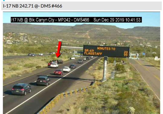 A crash on Interstate 17 near Black Canyon City delayed traffic on Dec. 29. 2019.