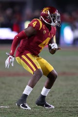 USC Trojans safety Chris Hawkins (4) during an NCAA football game against the UCLA Bruins on Saturday, Nov. 18, 2017 in Los Angeles. (Ben Liebenberg via AP)