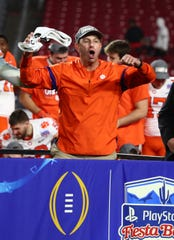 Dec 28, 2019; Glendale, AZ, USA; Clemson Tigers head coach Dabo Swinney celebrates after defeating the Ohio State Buckeyes in the 2019 Fiesta Bowl college football playoff semifinal game at State Farm Stadium. Mandatory Credit: Matthew Emmons-USA TODAY Sports