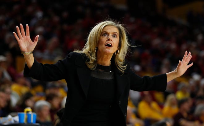 ASU's head coach Charli Turner Thorne reacts to a foul call against her team during the second half against Arizona at Desert Financial Arena in Tempe, Ariz. on Dec. 29, 2019.