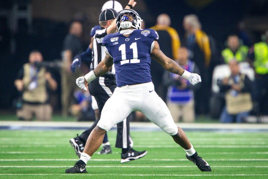 ARLINGTON, TX - DECEMBER 28: Penn State Nittany Lions linebacker Micah Parsons (11) celebrates after a sack during the Cotton Bowl Classic college football game against the Memphis Tigers on December 28, 2019 at AT&T Stadium in Arlington, Texas. (Photo by William Purnell/Icon Sportswire) (Icon Sportswire via AP Images)