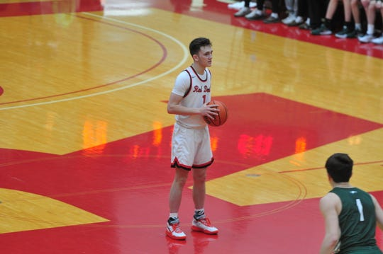 Andrew Kroft (1) hit five three-pointers and scored a team-high 16 points in a 40-38 loss to Zionsville in the Bob Wettig Memorial Tournament semifinals on Saturday, Dec. 28, 2019.
