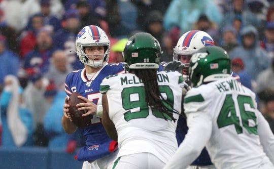 Bills quarterback Josh Allen is pressured by the Jets defense in a 13-6  loss.