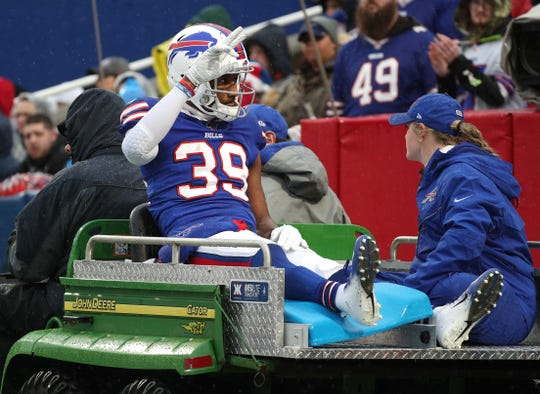 Bills cornerback Levi Wallace is carted to the locker room after suffering an ankle injury.