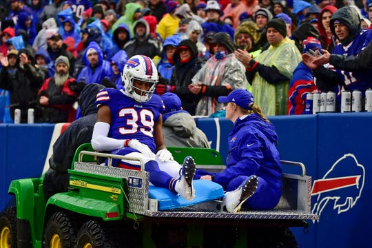 Buffalo Bills cornerback Levi Wallace (39) is carted off the field during the first half of an NFL football game against the New York Jets Sunday, Dec. 29, 2019 in Orchard Park, N.Y. (AP Photo/David Dermer)