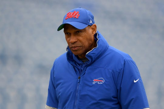 Dec 29, 2019; Orchard Park, New York, USA; Buffalo Bills defensive coordinator Leslie Frazier walks on the field prior to the game against the New York Jets at New Era Field. Mandatory Credit: Rich Barnes-USA TODAY Sports