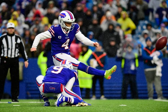 Buffalo Bills kicker Stephen Hauschka (4) boots a field goal during the second half of an NFL football game against the New York Jets, Sunday, Dec. 29, 2019 in Orchard Park, N.Y.