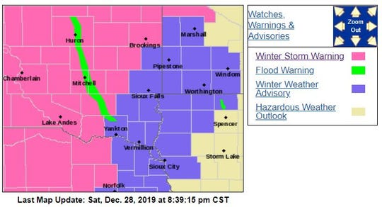 Warnings and advisories as of 8:30 p.m. Saturday night.