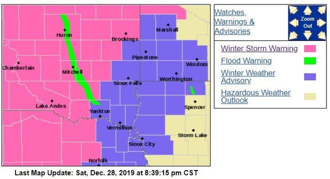 Warnings and advisories as of 8:30 p.m. Saturday night.