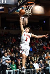 Jaxon LaBrie of Brandon Valley makes a basket during their game against DeLaSalle on Saturday night, Dec. 28, in the Hoop City Classic at the Sanford Pentagon in Sioux Falls.