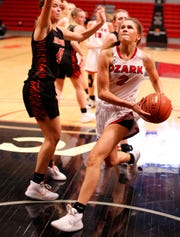 Ozark junior Anna Hitt's energetic play was pivotal in Saturday night's win over Republic at the Pink & White Classic.