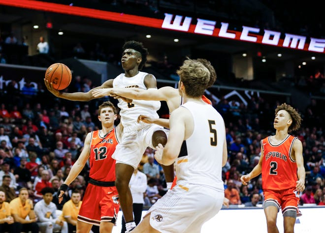 Kickapoo's Anton Brookshire goes up for a field goal as the Chiefs take on the Republic Tigers in a semifinal Gold Division game during the Blue and Gold Tournament at JQH Arena on Saturday, Dec. 28, 2019.
