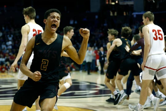 Logan-Rogersville's JJ O'Neil celebrates after the Wildcats beat the Nixa Eagles with a buzzer beater in a semifinal Gold Division game during the Blue and Gold Tournament at JQH Arena on Saturday, Dec. 28, 2019.