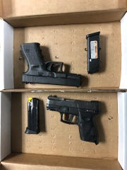 The Leon County Sheriff's Office posted this photo of two handguns seized during the arrest.