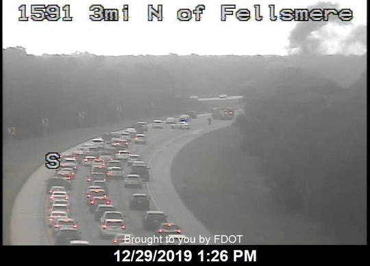 A car fire on northbound Interstate 95 had traffic stalled north of Fellsmere on December 29, 2019.