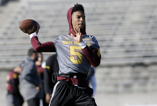 Arizona State quarterback Jayden Daniels throws during Sunday's practice at the Socorro Student Activities Center in preparation for their Tony the Tiger Sun Bowl game against Florida State.