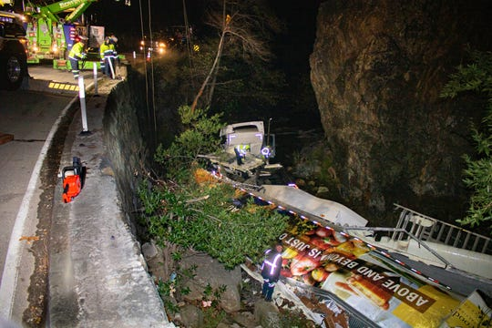 A big rig ran off the side of Highway 33 into Matilija Creek, about seven miles above Ojai, on Dec. 26, 2019. No serious injuries were reported.
