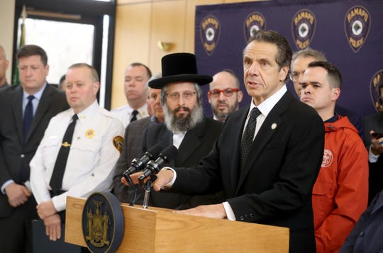 Gov. Andrew Cuomo, along with police, elected officials and community leaders, speaks at Ramapo Town Hall about Saturday night's stabbing in Monsey Dec. 28, 2019. Cuomo called the incident domestic terrorism. Police said that the suspect in the stabbings, Grafton Thomas, 37, of Greenwood Lake in Orange County, is in custody and will be arraigned in Ramapo Town Court later in the day.