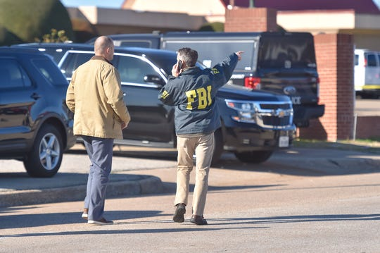 Agents outside after a shooting took place during services at West Freeway Church of Christ on Dec. 29, 2019 in White Settlement, Texas.