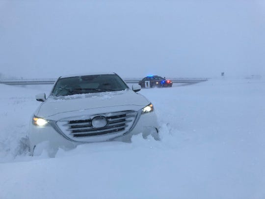 A photo from Sgt. Jesse Grabow shows a traffic accident on I-94 on Clay County Minnesota.
