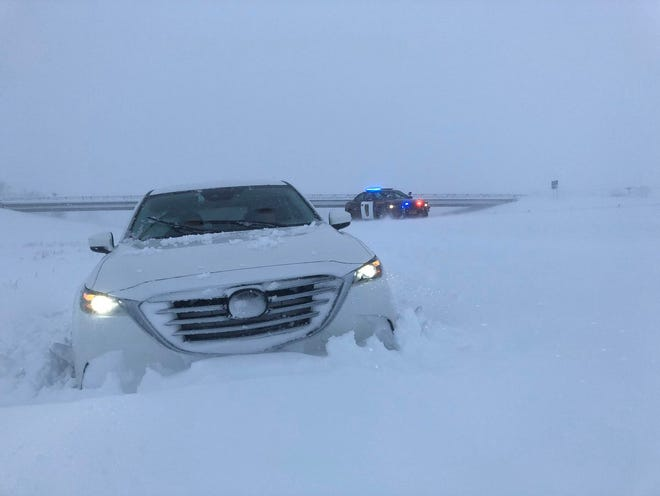 A photo from Sgt. Jesse Grabow shows a traffic accident on I-94 in Clay County, Minnesota.