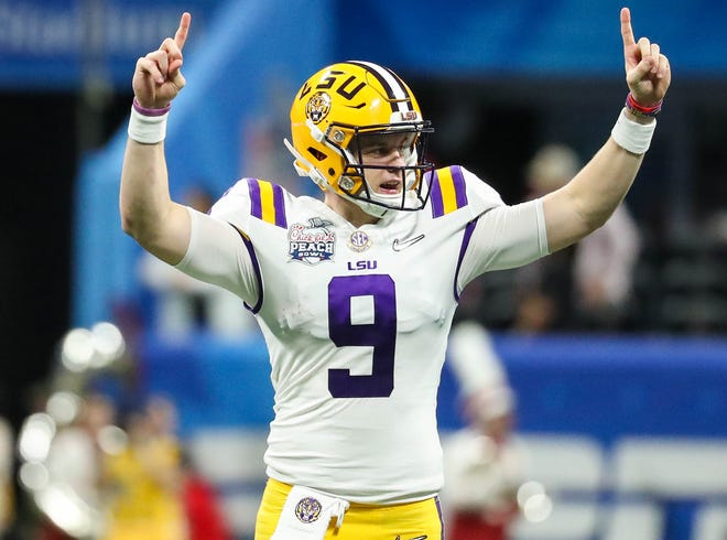 Joe Burrow accounted for a record eight touchdowns for LSU.