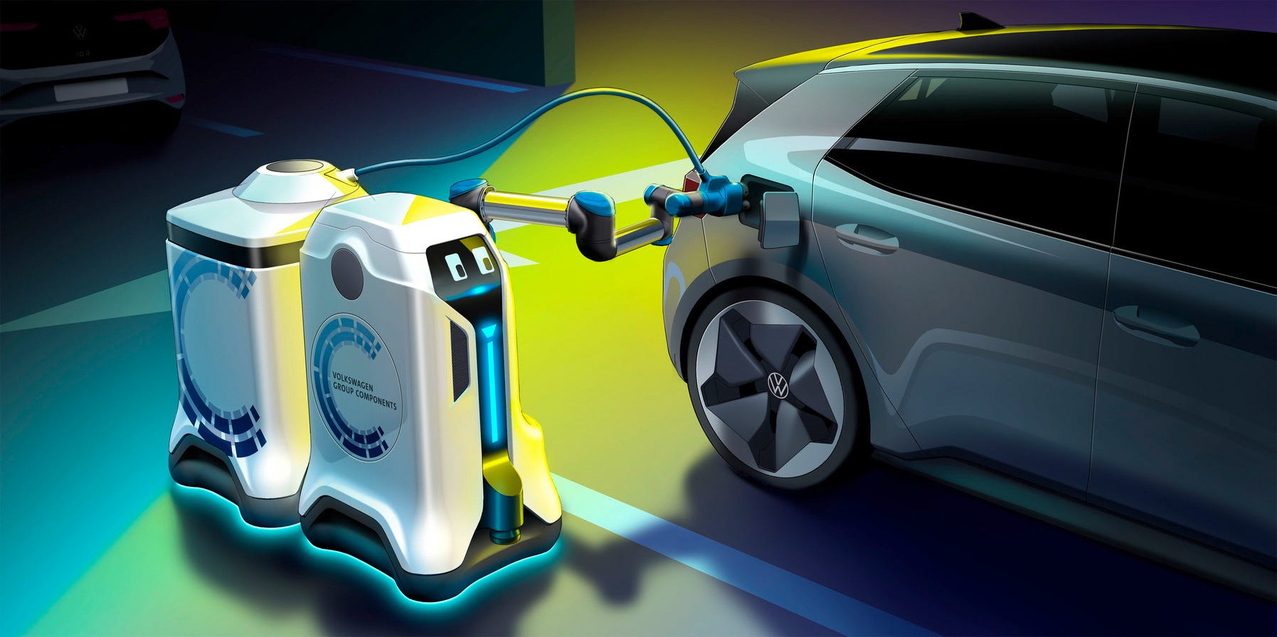 Can't park at an electric charging station? Volkswagen is working on an autonomous robot to juice your battery