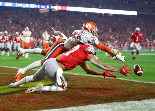 Clemson's A.J. Terrell breaks up a pass intended for Ohio State's Chris Olave during the first quarter of the Fiesta Bowl.