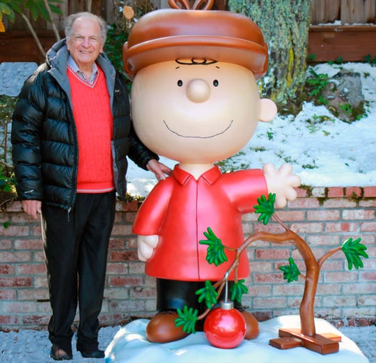 """This 2015 photo provided by Jason Mendelson shows Lee Mendelson in Hillsborough, Calif.  Lee Mendelson, the producer who changed the face of the holidays when he brought """"A Charlie Brown Christmas"""" to television in 1965 and wrote the lyrics to its signature song, """"Christmas Time Is Here,"""" died on Christmas day, Wednesday, Dec. 25, 2019."""