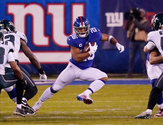 Giants running back Saquon Barkley in the first half against the Eagles.