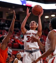 Texas Tech's Lexi Gordon (34) shoots the ball during the non-conference game against UTSA, Sunday, Dec. 29, 2019, at United Supermarkets Arena in Lubbock, Texas.