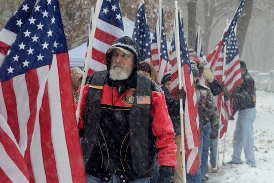 The snow and cold didn't deter many as they attended Veterans Day ceremonies at Fort Custer National Cemetery in Augusta in November.