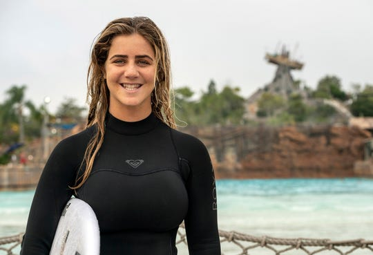 Teen pro surfing phenom Caroline Marks, the 17-year-old who recently earned a spot on the first-ever U.S. Olympic women's surfing team, caught some waves at Disney's Typhoon Lagoon.
