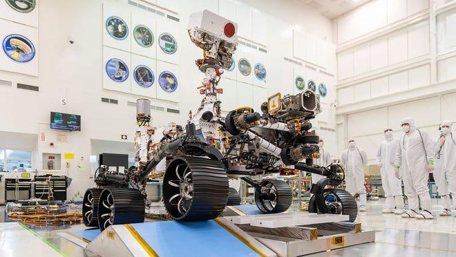 NASA's Mars 2020 rover is seen undergoing testing at NASA's Jet Propulsion Laboratory in Pasadena, California.