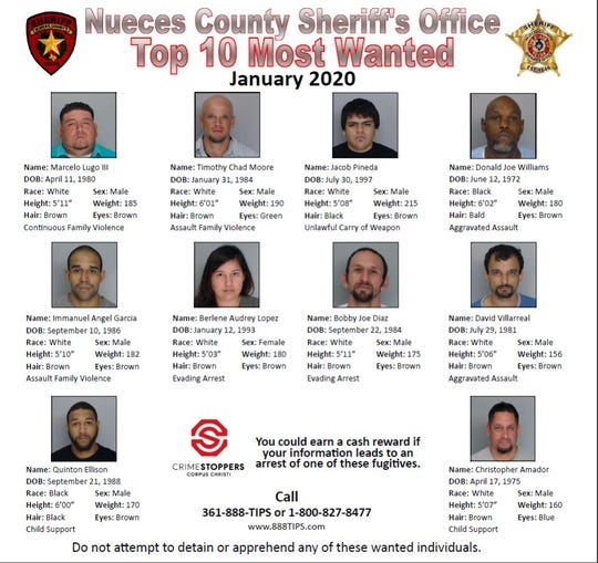 No one should attempt to apprehend any of these wanted people. Anyone with information should call Crime Stoppers at 361-888-8477 or 1-800-827-8477. Information can also be submitted online at www.888tips.com.