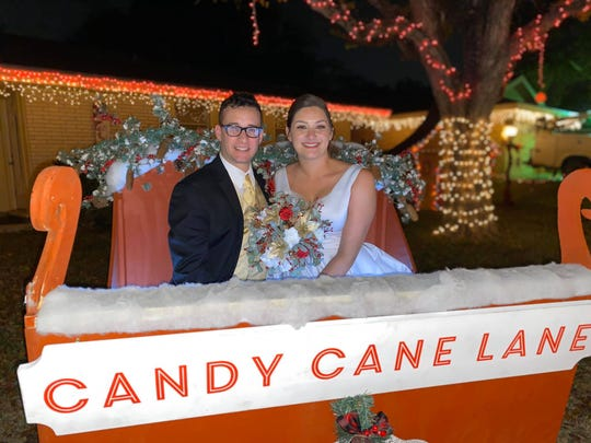 Veronica and George Salinas got engaged at Candy Cane Lane last year and returned last weekend to recreate their photos after their wedding.