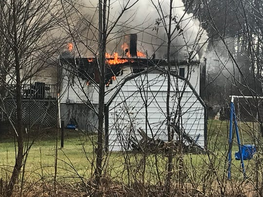 Fire crews were called to the 1000 block of England Hollow Road early afternoon Monday in response to this structure fire.