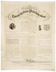 A facsimile of the Emancipation Proclamation.